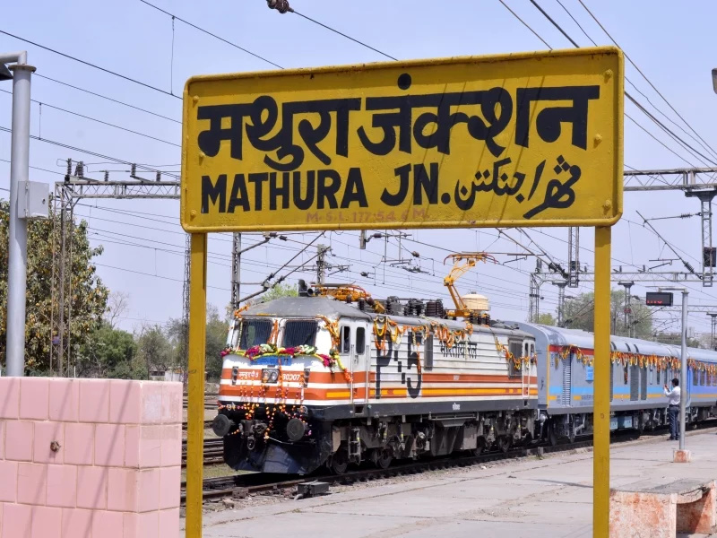 Image result for Mathura railway station with Train